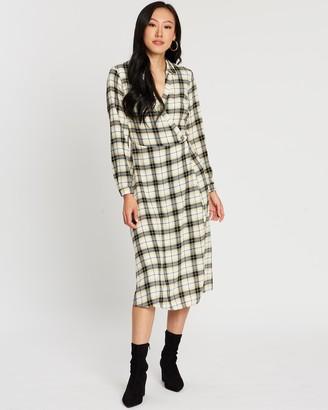Dorothy Perkins Check Collared Wrap Shirt Midi Dress