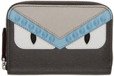 Fendi Grey Mini 'Bag Bugs' Zip Around Wallet