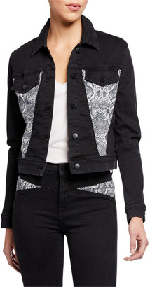 J Brand Harlow Shrunken Denim Jacket with Snake-Print Insets