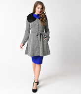 Ryu Vintage Style Black & White Tweed Button Up Ruffled Collar Coat
