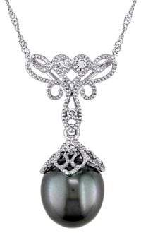 Sonatina 9-9.5MM Tahitian Cultured Pearl, Diamond and 14K White Gold Vintage Necklace