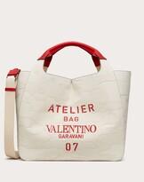 Thumbnail for your product : Valentino Garavani Uomo Valentino Garavani 07 Camouflage Edition Atelier Tote Bag In Canvas Man Natural 63% Cotton 37% Linen OneSize