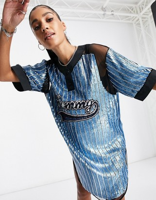 Tommy Hilfiger collections sequined logo baseball shirt dress in blue