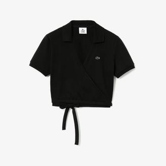 Lacoste Women's LIVE Wrap-Front Pique Polo Shirt