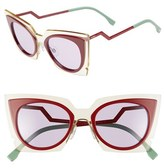 Fendi Women's 49Mm Cat Eye Sunglasses - Beige/ Red/ Burgundy