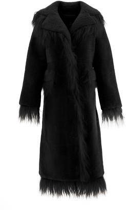 Saks Potts SHEARLING COAT 2 Black Leather, Fur