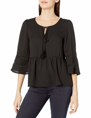 Lucca Couture Women's 3/4 Sleeve Tassle Top