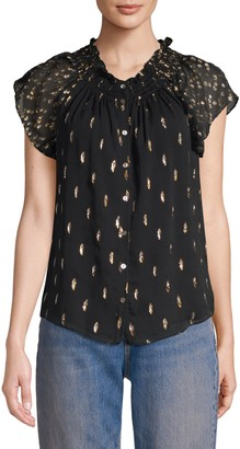 Rebecca Taylor Metallic Polka Dot Ruffled Button-Down Chiffon Blouse