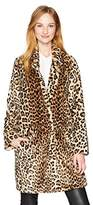Calvin Klein Women's Long Sleeve Leopard Fur Coat