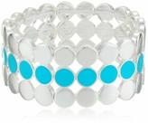 Nine West Splash Of Color Women's Wide Circle Silver Stretch Bracelet