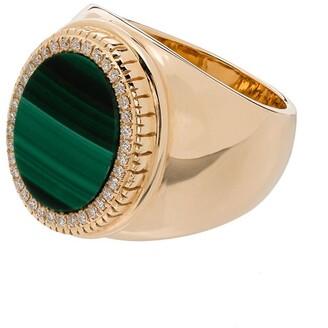 O Thongthai 14K yellow gold malachite ring