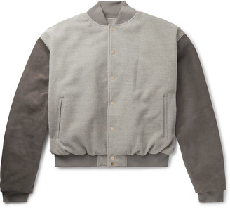 Fear Of God Appliqued Melange Felt And Suede Bomber Jacket
