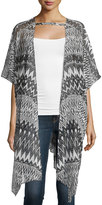 Neiman Marcus Printed Sheer Open-Front Cardigan, Black/White