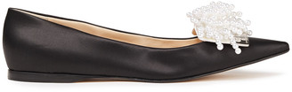 Sergio Rossi Faux Pearl-embellished Silk-satin Point-toe Flats
