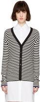 Proenza Schouler Black and White Striped Cardigan