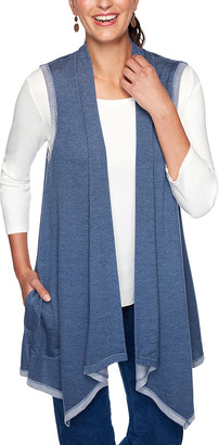 Ruby Rd. Women's Sweater Vests DENIM - Denim Blue Contrast-Trim Open Vest - Women