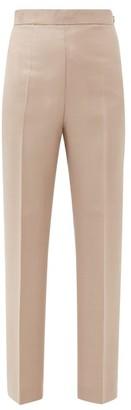 Fendi High-rise Mohair-blend Trousers - Womens - Beige