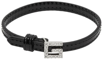 Gucci Black Patent Leather G Detail and Crystals Bracelet