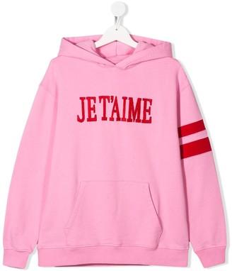 Alberta Ferretti Kids TEEN Je T'aime cotton hoodie