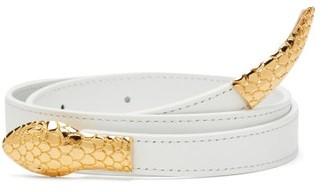 Altuzarra Snake-buckle Crossover Leather Belt - Womens - White Gold