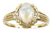 JCPenney FINE JEWELRY LIMITED QUANTITIES 14K Yellow Gold Oval Genuine Australian Opal and Diamond-Accent Ring