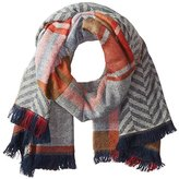 David & Young Women's Chevron Plaid Reversible Blanket Wrap