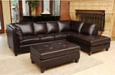 ABBYSON LIVING Charlie Top Grain Leather Sectional and Cocktail Ottoman