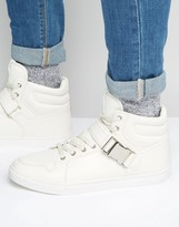 Asos High Top Sneakers in White With Strap