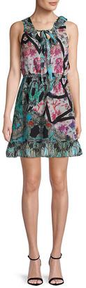 Nicole Miller Printed Silk Mini Dress