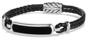David Yurman Exotic Stone Bar Station Bracelet In Black Leather With