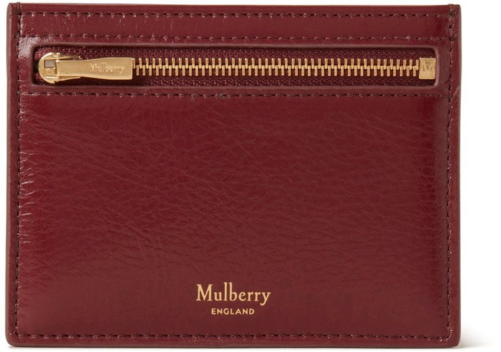 Mulberry Zipped Credit Card Slip Crimson High Shine Calf Leather