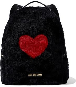 Love Moschino Leather-trimmed Printed Faux Fur Backpack