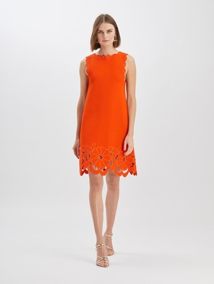Oscar de la Renta Floral Cut Knit Dress