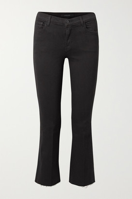 J Brand Selena Cropped Frayed Mid-rise Bootcut Jeans - Black