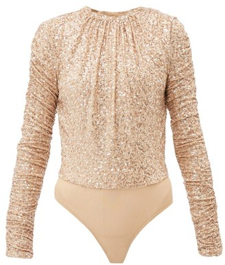 Jonathan Simkhai Sequinned Open-back Mesh Bodysuit - Womens - Gold