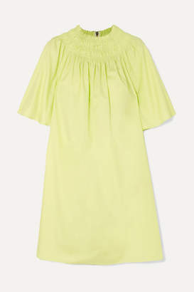 Roksanda Shirred Cotton-poplin Mini Dress - Yellow