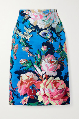 Dries Van Noten Floral-jacquard Skirt - Blue