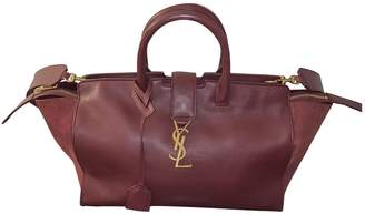 Saint Laurent Monogram Downtown Cabas Burgundy Leather Handbags