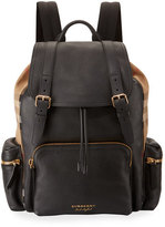 Burberry Large Leather & House Check Rucksack, Black
