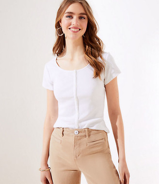 LOFT Button Trim Cropped Tee