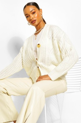 boohoo Chunky Cable Button Through Cardigan