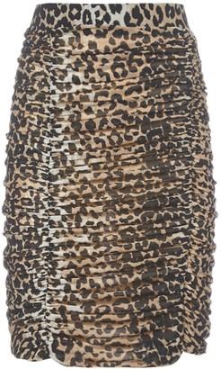 Ganni Ruched Leopard Print Skirt