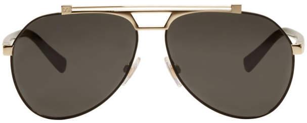 Dolce & Gabbana Black and Gold Aviator Sunglasses