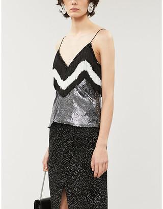 Balmain Fringed sequin-embellished metallic top