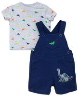 Little Me Two-Piece Dino-Print Tee & Solid Romper Set