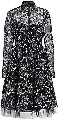 Pamella Roland Women's Mockneck Floral Lace Fit-&-Flare Dress