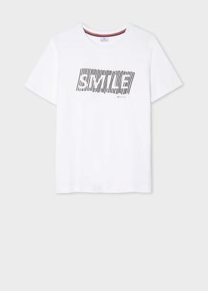 Women's White Organic-Cotton 'Smile' Print T-Shirt