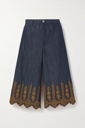 Adam Lippes Cropped Embroidered High-rise Wide-leg Jeans - Dark denim
