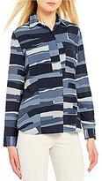 Jones New York Point Collar Long Sleeve Natural Striped Shirt