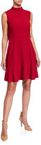 RED Valentino Tie-Neck Sleeveless Cape-Back Dress
